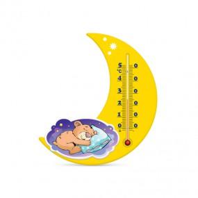 Термометр комнатный на пластиковом основании Месяц П-17, сладкий сон желтый